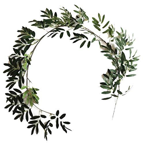 Ketamyy 2 Pack Artificial Eucalyptus Fake Leaves Vine Home Garden Wedding Decoration Lifelike Faux Evergreen Branches Silk Olive Garland