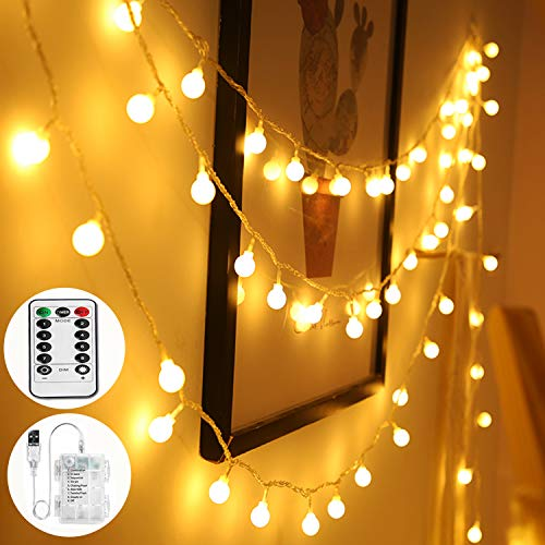 Globe String Lights USB or Battery Powered,36Ft 60 LED Fairy String Light,8 Modes Waterproof Fairy Light with Remote Control for Indoor Outdoor, Party, Christmas,Halloween,Wedding, Garden(Warm White)