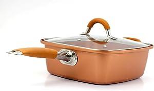 "Inventel SP-MC2 SP-MC02 Square Copper Pan Pro, 9 1/2"""