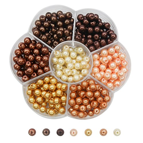 TOAOB 350pcs 6mm Glass Pearl Beads Round Multi Colors Loose Spacer Beads kit for DIY Craft Necklaces Bracelets Jewelry Making