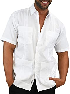 Mens Casual Botton Down Shirt Short Sleeve Guayabera Embroidered Tees Pleated Cuban Loose Fit Plain Tops