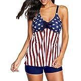 Zando Tankini Swimsuits for Women Two Piece Swimsuits Tummy Control Swimwear Plus Size Bathing Suits Modest Tankini Top with Boyshort Swimsuits Plus Size Tankini American Flag M (US 8-10)