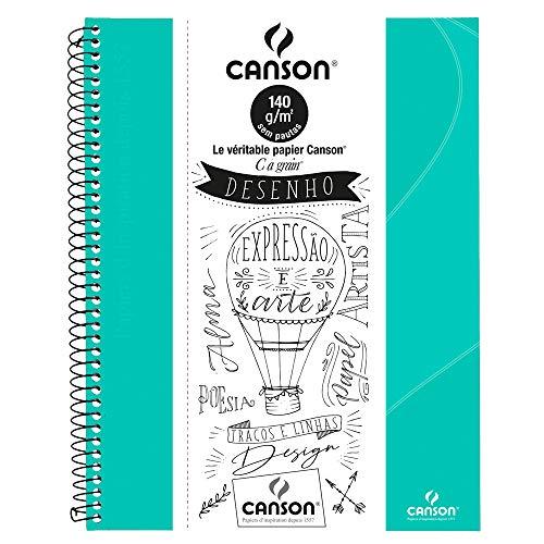 Caderno Canson Desenho Verde Tifany A4+ 140g/m² com 40 folhas