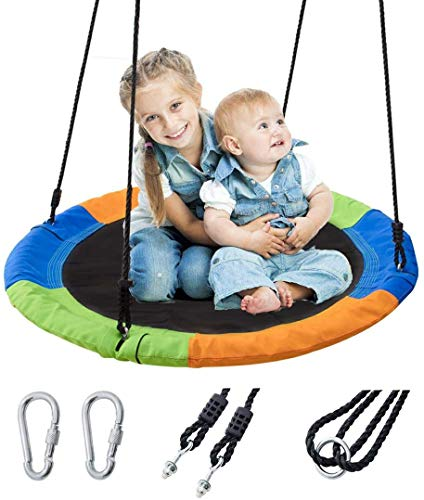Ancaixin 40  Saucer Tree Swing Flying 700 lb Weight Capacity Adjustable Multi-Strand Ropes Safe Durable Easy Install 900D Oxford Kids Swing Seat for Children Adults - Colorful