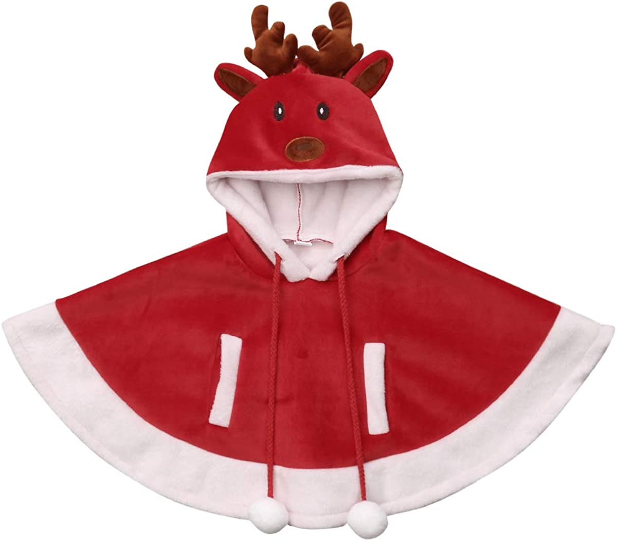 child Hooded warm fleece cape coat 2-14 years child toddler boy girl teen jr poncho carseat car seat Christmas gift unisex