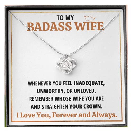 Wife Necklace Gift From Husband To My Badass Wife Straighten Your...