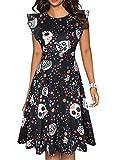 Robes de soirée Halloween Vintage pour Femmes crâne imprimé Coupe et évasement Cocktail Swing Aline Midi rétro Cosplay Robe (Black Skull, XL)