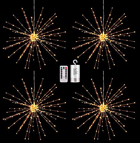 4 Pack Starburst Sphere Lights,200 LED Firework Lights, 8 Modes Dimmable Remote Control Waterproof Hanging Fairy Light, Copper Wire Lights for Patio Parties Christmas (4 Pack Battery Operated)