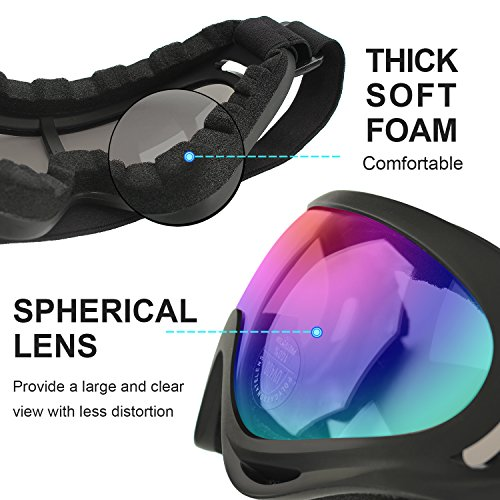 COOLOO Ski Goggles, Pack of 2, Snowboard Goggles for Kids, Boys & Girls, Youth, Men & Women, with UV 400 Protection, Wind Resistance, Anti-Glare Lenses, Made, Multicolor/Gray