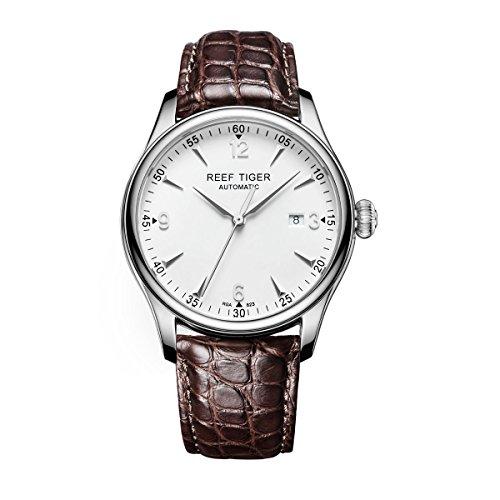 REEF TIGER Herren Uhr analog Automatik mit Leder-Alligator Armband RGA823-YWA
