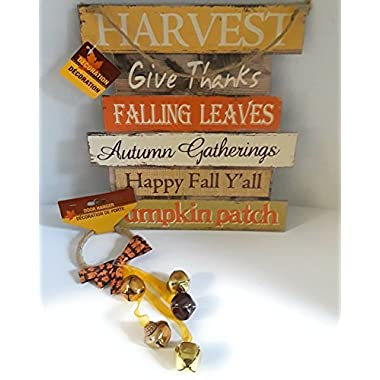 FALL HOME DECORATIONS HANGING SIGN HARVEST/GIVE THANKS/FALLING LEAVESAUTUMN GATHERINGS HAPPY FALL YALL PUMPKIN PATCH AND HANGING DOOR BELLS