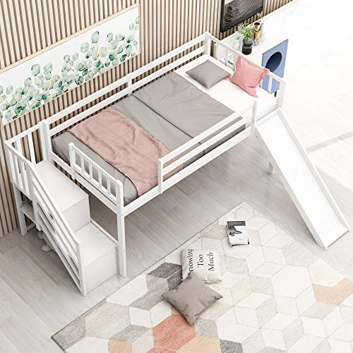 mattress cover for storages SIU Staircase Loft Bed with Stairs Storages Twin Size Solid Wood Bunk Bed for Kids (White Bed Frame with Adjustable Slide)