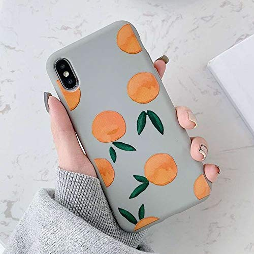 LIMITED Funda De Teléfono Retro Patrón De Naranja para iPhone 11 11Pro MAX para iPhone X XS XR 8 7 6S Plus, Fundas De Silicona Blanda (Gris,For iPhone 6 6S)