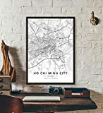 ZWXDMY Leinwand Bild,Vietnam Ho Chi Minh City Karte Schwarz