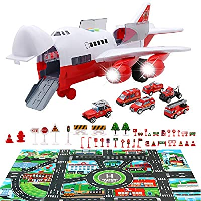 PETUOL Car Toys Set with Transport Cargo Airplane, Educational Vehicles Fire Fighting Car Set for Kids Toddlers Child Gift for 3 4 5 6 Years Old, Large Play Mat and 6 Trucks Large Plane 11 Road Signs from PETUOL