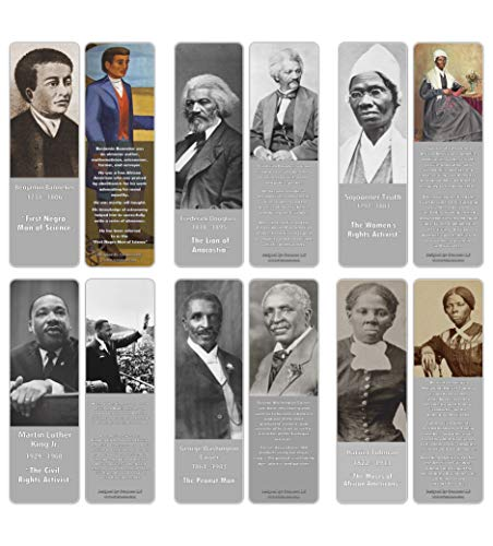 Creanoso Inspiring Historical Famous African Americans Bookmarks (60-Pack) – Premium Gift Bookmarks Gift Ideas for Young Men & Women, Teens, Students – Unique Professor Gifts