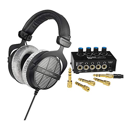 beyerdynamic DT-990 Pro Acoustically Open Headphones (250 Ohms) and Knox Gear Compact 4-Channel Stereo Headphone Amplifier Bundle (2 Items)