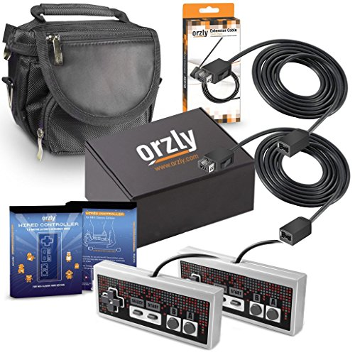 ORZLY® Essentials Accessory Pack for Nintendo NES Classic (NES Mini) - Accessories Bundle Includes 2X Control Pads, 2X Cable Extension Leads for Controllers and 1x Travel Bag (Console Not Included)