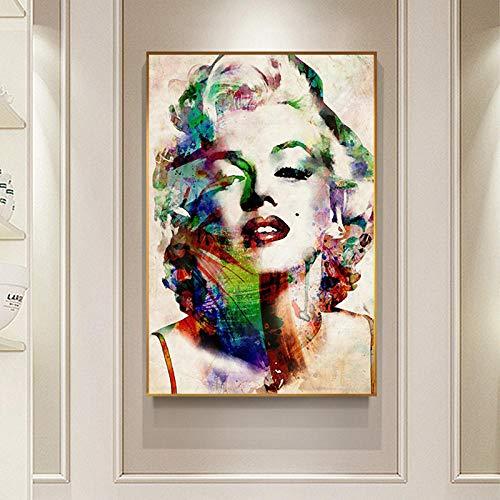 Moderne filmster grote poster afdrukken abstracte creatieve kleurrijke Marilyn Monroe canvas schilderij woonkamer Wall Art Decor 60x85cm zonder lijst