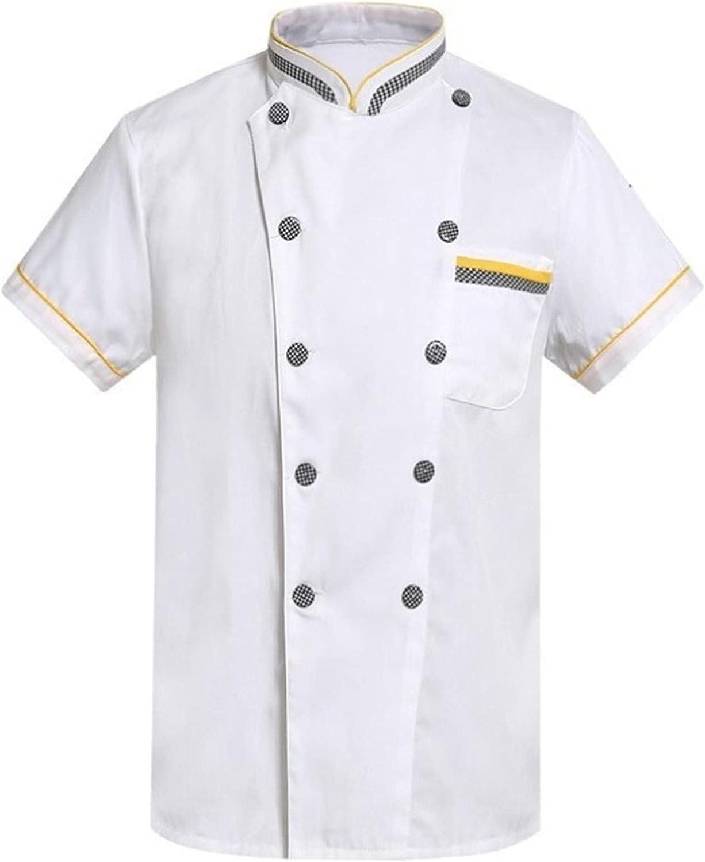 Moily Men Women Chef Coat Short Sleeve Chef Jacket Cooker Restau
