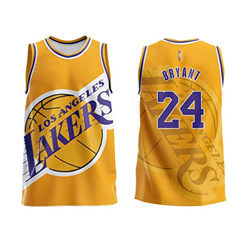 ZYJL Kobe - Camiseta de baloncesto para adultos, color negro Mamba Lakers 24 # Retro Unisex sin mangas Impreso Sports Tank Top Baloncesto Ropa de entrenamiento Chaleco (M-6XL) amarillo-XXL