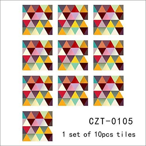 ukYukiko - Pegatinas para pared de baño (10 unidades), diseño de mosaico triangular