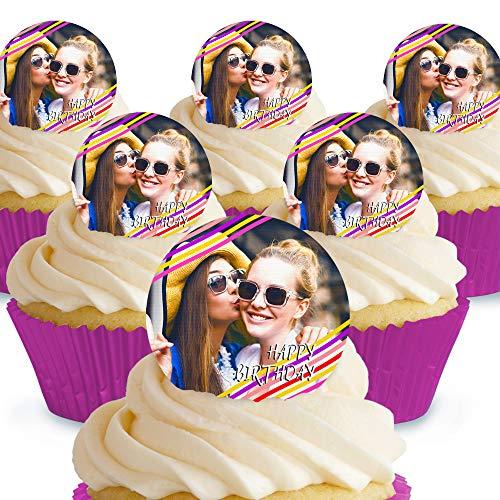 Cakeshop 12 x 4cm Happy Birthday Photo Upload Custom Personalised Edible Photo Cake Toppers Decorations - Precut Premium Wafer Paper