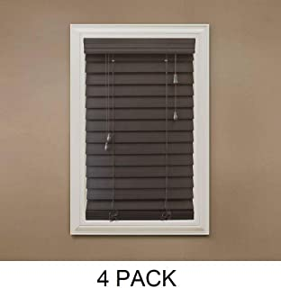 Home Decorators Collection Espresso 2-1/2 in. Premium Faux Wood Blind - 35 in. W x 64 in. L (Actual Size - 34.5 in. W x 64 L) (4 Pack)