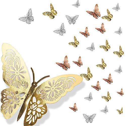Dream HorseX Schmetterling Wandaufkleber 3D Schmetterlinge Deko Wand Wandsticker Aufkleber Wandtattoo Wandsticker Dekoration mit Klebepunkten für Schlafzimmer Wohnzimmer Kinderzimmer, 36 Stück