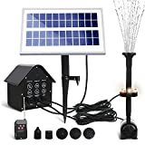 JonesHouseDeco Fuente Solar Bomba, 5 LED Luces, 3.6W Bomba de Agua Solar Fuente, Caudal 200 L/H, con 5 Boquillas para Piscina, Baño de Aves, Estanque, Patio y Decoración del Jardín