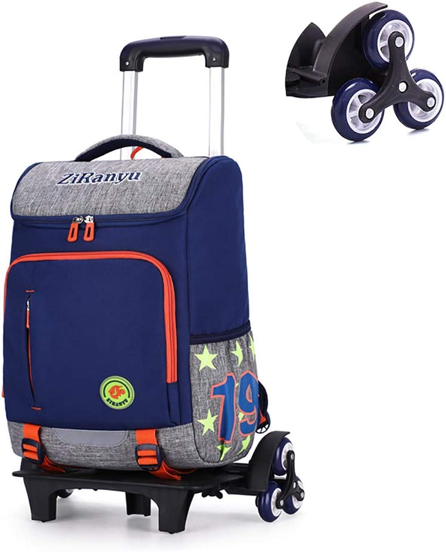 MQYZS Pull Rod Zaini - Trolley Zaino Design Riflettente della Striscia Pieghevole Staccabile Gree capacità per Studenti Primari (6 Ruote),blu