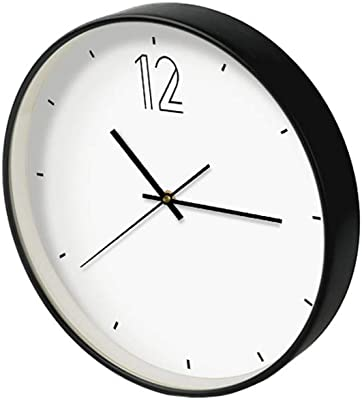 Yomioak Creative Simple Modern Wall Clock Living Room Bedroom Quartz Clock White 12 inches