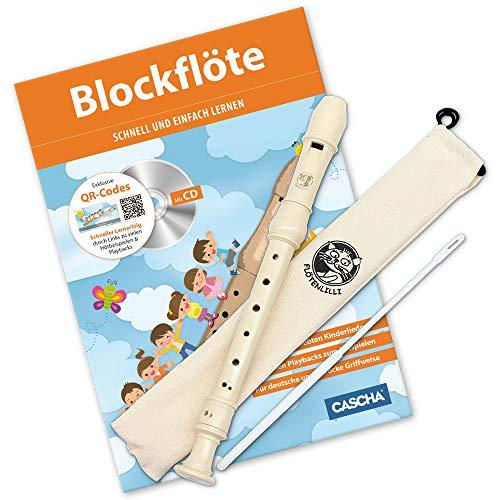 CASCHA Blockflöten Set, Flöte aus Kunststoff zum Lernen für Kinder und Anfänger mit Buch, Barocke Griffweise