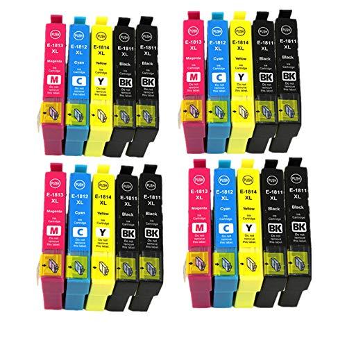 18 XL Alta Capacidad Cartuchos de Tinta, Compatible para Epson 18 18XL con Epson XP-30/XP-202/XP-302/XP-402/XP-205/XP-305/XP-405/XP-415/XP-412/XP-315/XP-312/XP-212/XP-215/ (8BK 4C 4M 4Y)