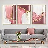 Poster e Stampe Pittura su Tela Rosa Dorata Astratta Stampe su Tela nordiche Immagini per Soggiorno Decorazione domestica-60x80cm 3 Pezzi Senza Cornice