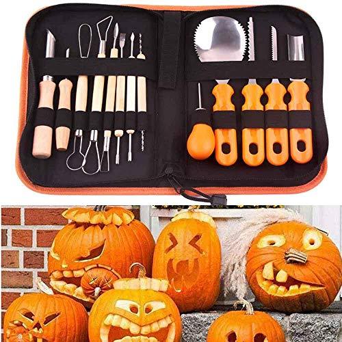 FMJHCW 14 Stück professionelles Kürbis-Schnitzset aus Edelstahl, Halloween-Schneidwerkzeuge mit Aufbewahrungstasche, für Halloween-Dekoration