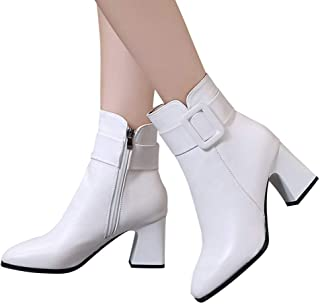 Retro Women Rome Martain Boots Ladies Solid High Heel Thin Zipper Warm Flock Short Ankle Booties TM Outtop