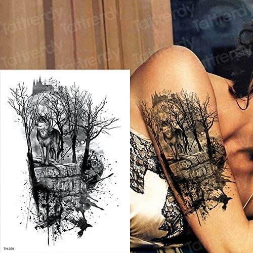 tzxdbh 2pcs Impermeable del Tatuaje Hombre del Tatuaje del Tatuaje del Lobo Negro Bosque Big Boy Hombre del Tatuaje del Brazo del Pecho del Arte del Tatuaje El Tatuaje Nueva Grande 2Pcs-