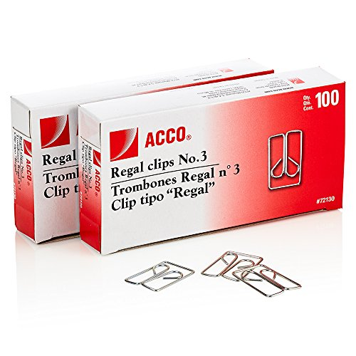 ACCO Brands Regal Clips/Owl Clips, Smooth Finish, 3 Size, 100/Box, 2-Pack (200 Clips Total) (A7072152)