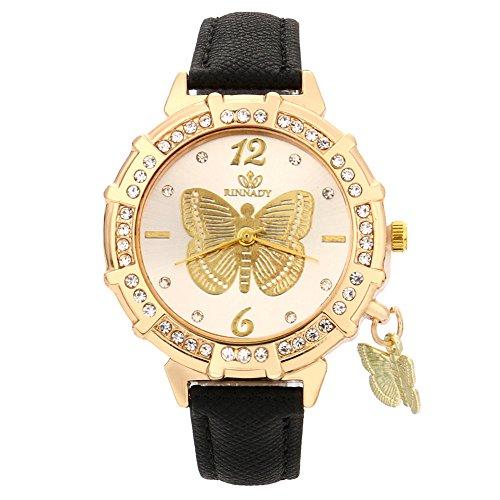 Skang Damen Armbanduhr Rund Analog Quarz Schmetterling Muster Anhänger Diamant Strass Armbanduhr Für Frau Lady Teenager Mädchen(one Size,Schwarz)
