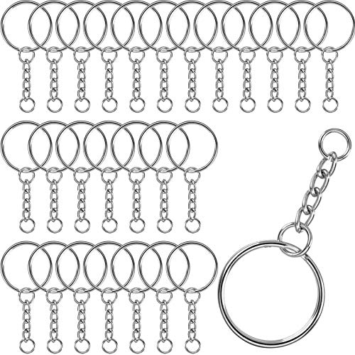 DESON 100 Stück Schlüsselring Schlüsselanhänger mit Gliederkette 25mm Durchmesser Silber Keyring Chain Spaltringe SprungRing Schlüsselring mit Schlüssel Kette für DIY Basteln Schlüssel Taschen