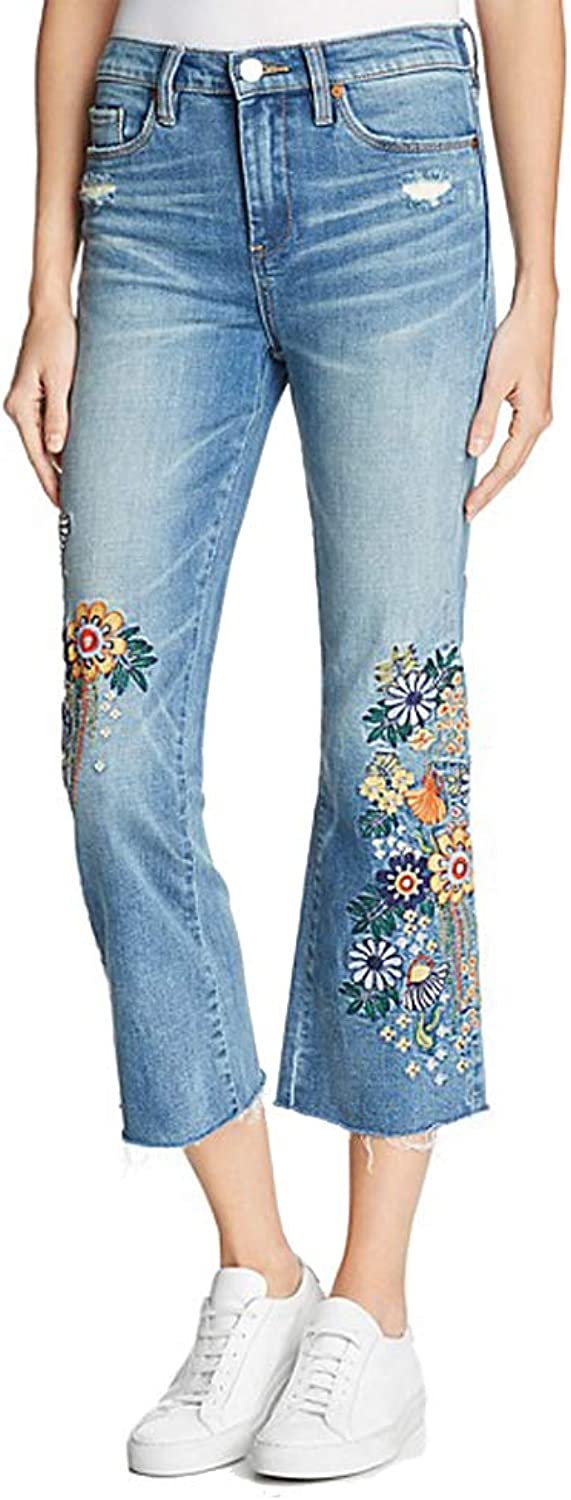 [BLANKNYC] Embroidered Cropped Flared Jeans in Delaytionship