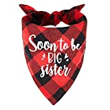 family Kitchen Soon to Be Sister Red Plaid Girl Dog Bandana, Pregnancy Announcement Dog Bandana, Gender Reveal Pet Dog Scarf Bibs Accessories