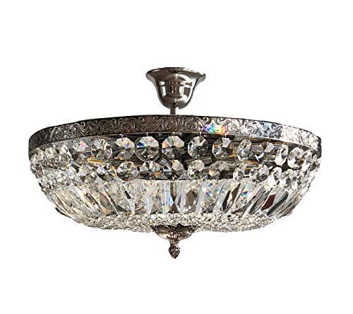 Kristallen plafondlamp SCHÖNBRUNN Ø45cm French antiek zilver gemaakt van geslepen kristallen