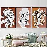 UHYGT Póster e Impresiones de Picasso línea Femenina Abstracta Lienzo Arte de la Pared Pintura Minimalista Imagen Vintage Sala de Estar decoración Moderna 50x70cmx3 sin Marco