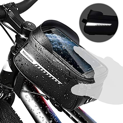 Bolsa Bicicleta Impermeable 1,5 L, Fruitlet Bolsa para Cuadro Bicicleta con Visera Solar Orificio para Auriculares Pantalla Táctil TPU, Bolsas Bicicleta Montaña para Smartphones de Hasta 6,5'