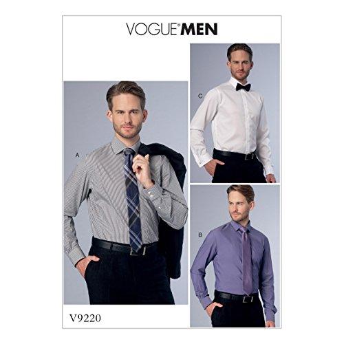Vogue Mustern 9220Muu Herren Shirt, Tissue, mehrfarbig, Größen 34–40