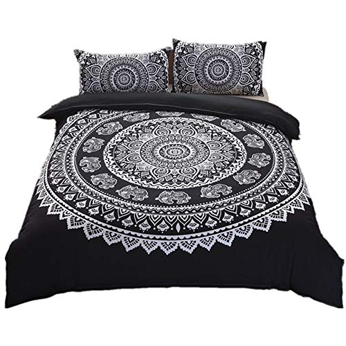 zzkds Bohemian Egyptian Mandala Mandala Double Duvet Set 3 Pcs Hippie Gypsy Nirvana Yoga Indian Home Bedding Duvet Cover Set