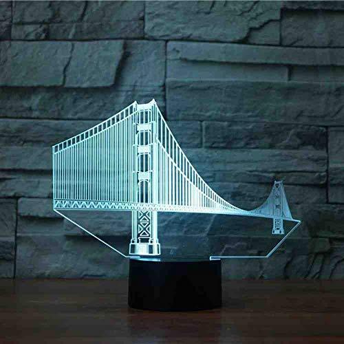 RJGOPL bedroom Vision Usb Luminaire De Chevet Luminaire Golden Gate Bridge Modélisation 3D Led Bureau Lampe 7 Couleur Veilleuse Decor Cadeaux