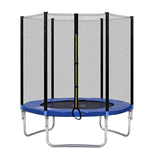 Gona Cama elástica para exteriores con valla de seguridad y barras acolchadas, soporta hasta 80 kg, ha superado la prueba GS y TÜV (azul + cromo + 6FT)